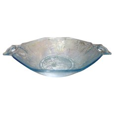 Fostoria Brocade Oakwood Azure Blue Sweetmeat 2-Handled Hex Bowl