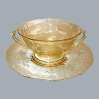 """Fostoria Topaz Yellow """"June"""" Etched Glass Cream Soup Bowl and Underplate"""