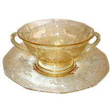 "Fostoria Topaz Yellow ""June"" Etched Glass Cream Soup Bowl and Underplate"