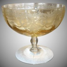 "Fostoria Topaz Yellow ""June"" Etched Glass Grapefruit"