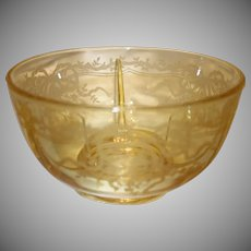 "Fostoria Topaz Yellow  ""June"" Etched Glass Ice Dish"