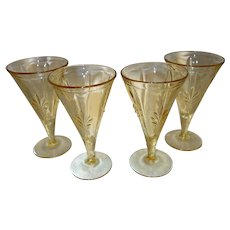 "Set of Four Fostoria ""Baroque"" Topaz Yellow Water Goblets"