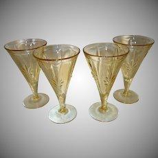 "Set of Four Fostoria ""Baroque"" Topaz Yellow Water Goblets"