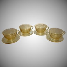 "Set of 4 Fostoria ""June"" Topaz Yellow Cups and Saucers"