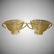 """Two Fostoria Topaz Yellow """"June"""" Etched Glass Bouillon Bowls"""