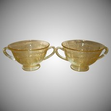 "Two Fostoria Topaz Yellow ""June"" Etched Glass Bouillon Bowls"