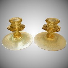 "Fostoria Topaz Yellow ""June"" Etched Glass Candlesticks"