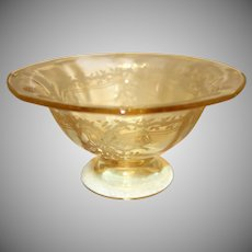 """Fostoria Topaz Yellow """"June"""" Etched Glass Comport"""