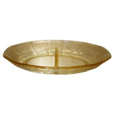 """Fostoria Topaz Yellow  """"June"""" Etched Glass Divided Relish Dish"""
