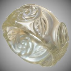 Vintage Clear Molded Floral Lucite Bangle Bracelet