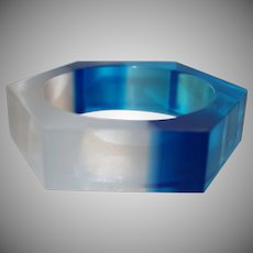 Transparent Blue and Clear Lucite Bracelet
