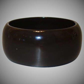WIDE Dark Brown Lucite Bangle Bracelet