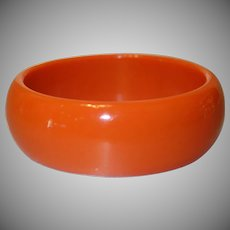 Vintage Orange Lucite Bangle Bracelet
