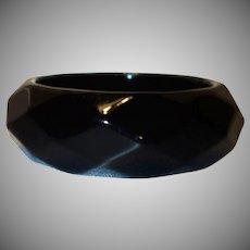 Black Faceted Lucite Bangle Bracelet