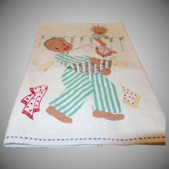 Vintage Black Americana Applique and Hand Embroidered Dish Towel