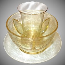 "Fostoria Topaz Yellow Etched Glass Icer, Crab Meat Insert and Underplate in the ""June"" Pattern"