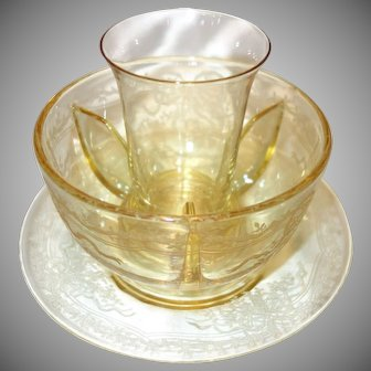 """Fostoria Topaz Yellow Etched Glass Icer, Crab Meat Insert and Underplate in the """"June"""" Pattern"""