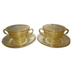"Fostoria Topaz Yellow Etched Glass Bouillon Bowls and Saucers in the ""June"" Pattern"