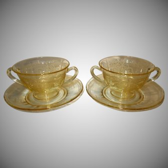 """Fostoria Topaz Yellow Etched Glass Bouillon Bowls and Saucers in the """"June"""" Pattern"""