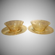 "Pair of Fostoria Topaz Yellow ""June"" Etched Glass Finger Bowls with Underplates"