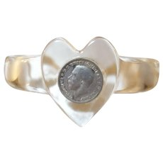 Clear Lucite Child's Cuff Bracelet with Embedded 1920's Brittish Threepence Coin