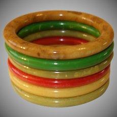 Set of Six Bakelite Tube Bracelets
