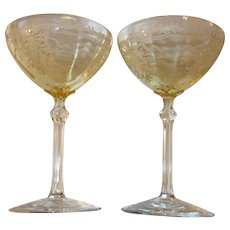 "Pair of Fostoria Topaz Yellow ""June"" Etched Glass High Sherbet Glasses"