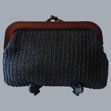 Vintage Black Straw Clutch with Lucite Frame
