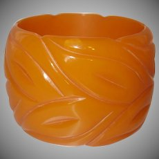 Extra Wide Carved Resin Bangle Bracelet