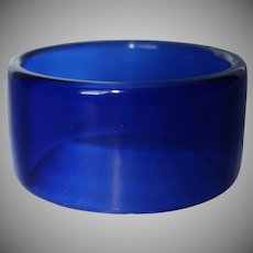 Vintage Wide Transparent Blue Lucite Bangle Bracelet