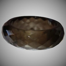Vintage Smoky Faceted Lucite Bangle Bracelet