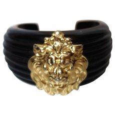 Vintage Black Resin Cuff Bracelet