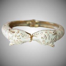 Vintage White Enamel Tiger Clamper Bracelet
