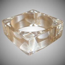 Vintage Clear Square Lucite Bangle Bracelet