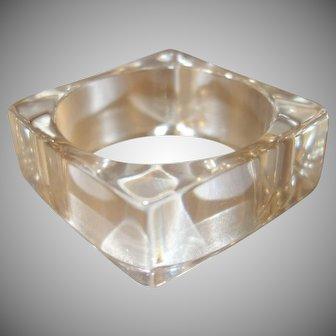Vintage Clear Square Lucite Bangle Bracelet