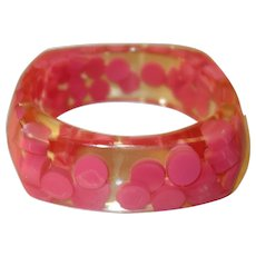 Vintage Clear Molded Lucite Bracelet with Encased Pink Dots