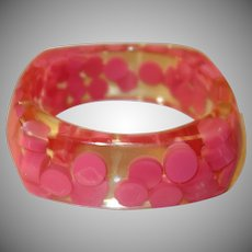 Vintage Clear Molded Lucite Bracelet with Encased Pink Dots
