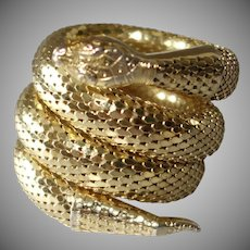 Whiting & Davis Triple Coil Gold Tone Metal Mesh Snake Bracelet