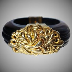 Vintage Unsigned Inna Cytrine Paris Black Lucite Hinged Bracelet