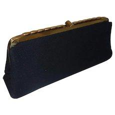 Vintage 1960's Black Wool Clutch Purse