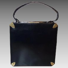 Vintage Sleek Black Leather Handbag by Dofan Made in France