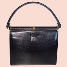 Vintage Lucile De Paris Black Lizard Skin Handbag