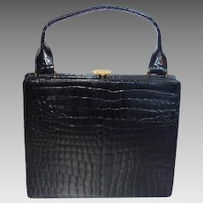 Vintage Ultra Slim Black Alligator Handbag by Dofan