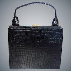 Vintage Ultra Slim Black Alligator Handbag by Dofan