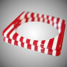 Set of Two Red and White Striped Square Lucite Bracelets