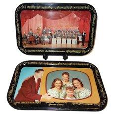Vintage Set of Five Lawrence Welk Metal Snack Trays