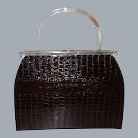 Extra Large Embossed Alligator 3-n-1 Convertible Handbag  by L& M Edwards