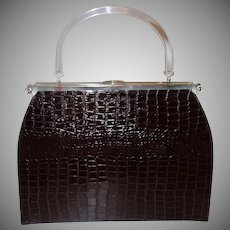 Extra Large Embossed Alligator 3-n-1 Convertible Handbag  by L& M Edwards