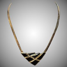 Vintage Trifari Black Enamel Metal Necklace