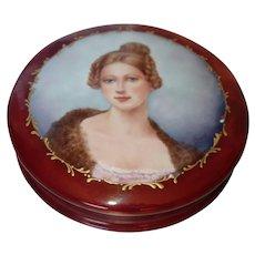 Vintage Limoges France Hand Painted Artist Signed Dresser Powder Jar